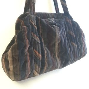 Vintage Velvet Quilted Satchel Bag